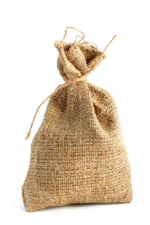 Burlap gift sack isolated on white background