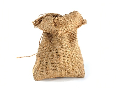 jute: Burlap gift sack isolated on white background