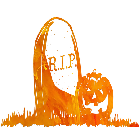 Grave with pumpkin Stock Photo