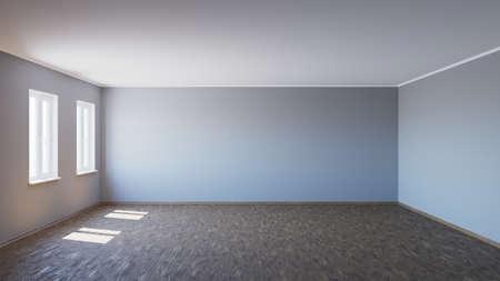 Empty Interior with Parquet Floor Lit by the Sun, 3d illustration 免版税图像