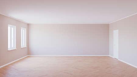 Empty Interior with Parquet Floor, Two Windows, Beige Walls, White Door and White Plinth, 3d Illustration