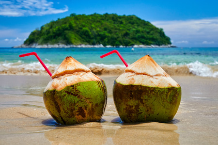 coconut palm tree: coconut cocktail on a Paradise beach Phuket Stock Photo