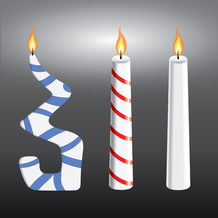 Three burning christmas candles with red wax, blue stripes Ilustracja