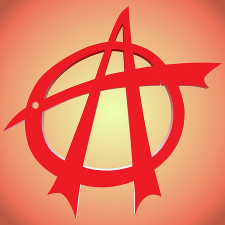 antisocial: Torn anarchy symbol in red with a background