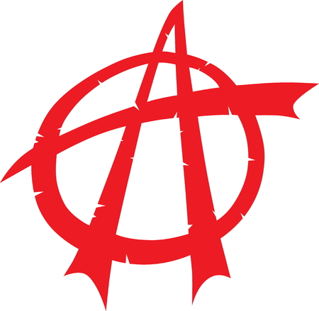 Broken anarchy symbol in red flat style