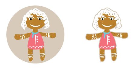 Funny sand girl in red dress ginger cookies on Christmas Day, in Flat style, with a clipping path.