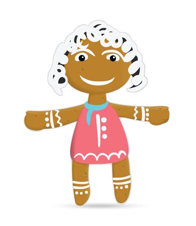 rolling pin: Funny sand girl in red dress ginger cookies on Christmas Day