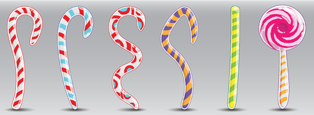 Christmas striped candy in the form of rods and squiggles. Each element in the clipping mask.