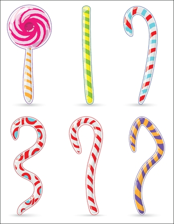 Christmas striped candy in the form of rods and squiggles. Each element in the clipping mask. Flat style, without background