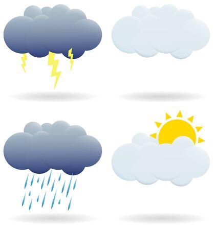 Set of clouds. A cloud with a thunderstorm, sun, rain is depicted.