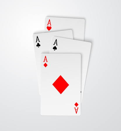 Four aces playing cards poker winner hand