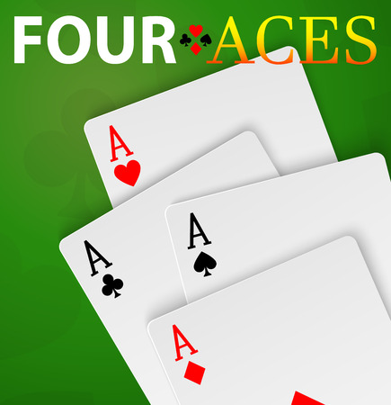 Four aces poker cards winner hand Illustration