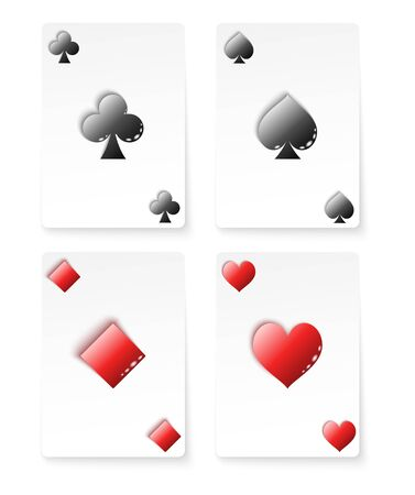 Playing Card Suits set. Four card with symbols. Vector illustration