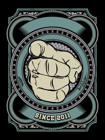 Human hand with the finger pointing or gesturing towards you.Shirt designs, biker, disk jockey, gentleman, barber and many others.isolated and easy to edit. Vector Illustration - Vector Illustration