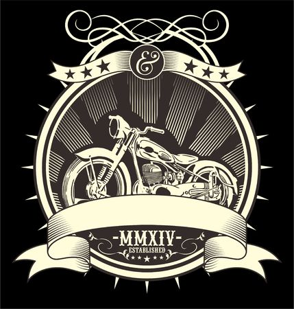 Vintage Motorcycle. vector hand drawing.Shirt designs, biker, disk jockey, gentleman, barber and many others.isolated and easy to edit. Vector Illustration - Vector
