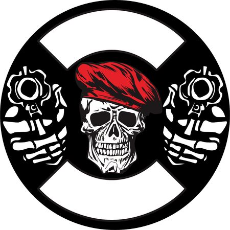skull army with gun vector hand drawing.Shirt designs, biker, disk jockey, gentleman, barber and many others.isolated and easy to edit. Vector Illustration - Vector