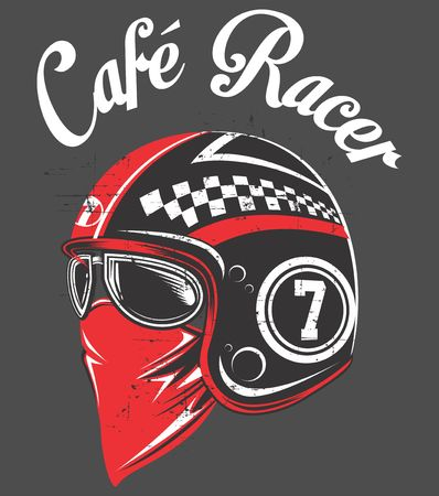 Motorcycle rider helmet,with tex cafe racer.vector hand drawing.Shirt designs, biker, disk jockey, gentleman, barber and many others.isolated and easy to edit. Vector Illustration - Vector