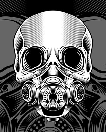 skull with respirator.vector hand drawing.Shirt designs, biker, disk jockey, gentleman, barber and many others.isolated and easy to edit. Vector Illustration - Vector