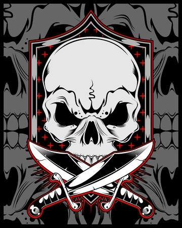 skull with cross sword.vector hand drawing.Shirt designs, biker, disk jockey, gentleman, barber and many others.isolated and easy to edit. Vector Illustration - Vector