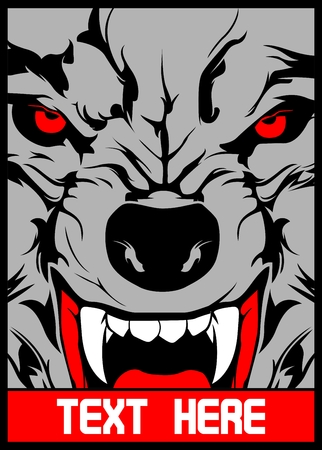 vector wolf with pointed teeth..Shirt designs, biker, disk jockey, gentleman, barber and many others.isolated and easy to edit. Vector Illustration - Vector