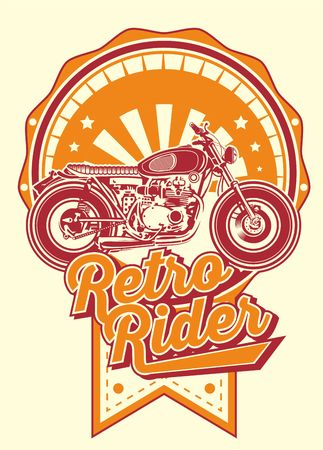 retro rider with motorbikes vintage.Shirt designs, biker, disk jockey, gentleman, barber and many others.isolated and easy to edit. Vector Illustration - Vector