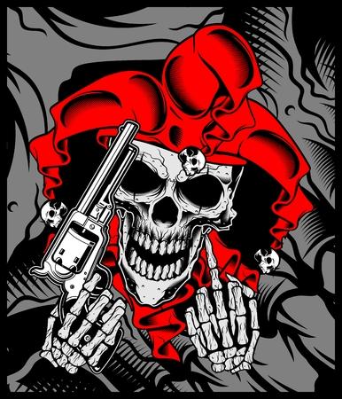 le crâne du joker est titulaire d'un dessin à la main. Illustration vectorielle - Vecteur Vecteurs
