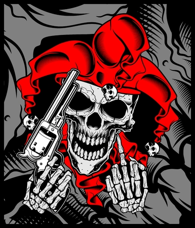 the joker's skull holds a gun.vector hand drawing.Shirt designs, biker, disk jockey, gentleman, barber and many others.isolated and easy to edit. Vector Illustration - Vector