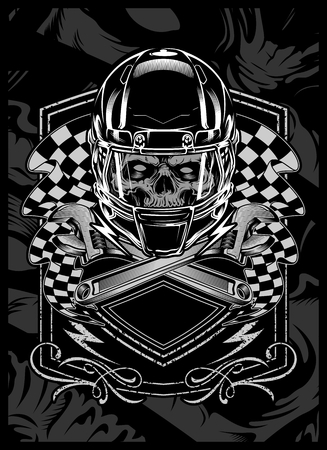 skull with helmet.vector hand drawing.Shirt designs, biker, disk jockey, gentleman, barber and many others.isolated and easy to edit. Vector Illustration - Vector Vector Illustration