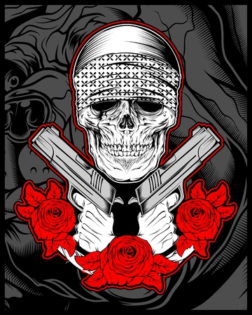 skull mafia,gengster wearing bandana with gun an roses.vector hand drawing,Shirt designs, biker, disk jockey, gentleman, barber and many others.isolated and easy to edit. Vector Illustration