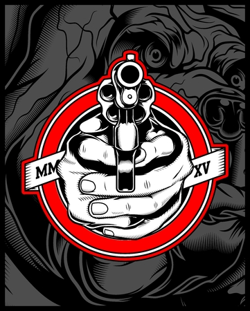 two hands holding a gun.vector hand drawing,Shirt designs, biker, disk jockey, gentleman, barber and many others.isolated and easy to edit. Vector Illustration - Vector Illustration