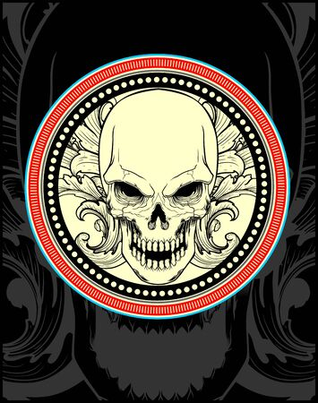 skull with ornament.vector hand drawing,Shirt designs, biker, disk jockey, gentleman, barber and many others.isolated and easy to edit. Vector Illustration - Vector