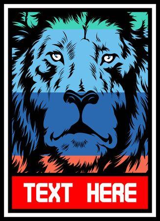 lion full color..vector hand drawing,Shirt designs, biker, disk jockey, gentleman, barber and many others.isolated and easy to edit. Vector Illustration - Vector Illustration