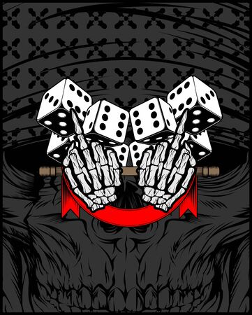 and, middle finger. Fuck you, symbol with dice.vector hand drawing,Shirt designs, biker, disk jockey, gentleman, barber and many others.isolated and easy to edit. Vector Illustration - Vector Illustration