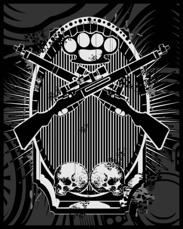 weapon and skull vector.vector hand drawing,Shirt designs, biker, disk jockey, gentleman, barber and many others.isolated and easy to edit. Vector Illustration - Vector