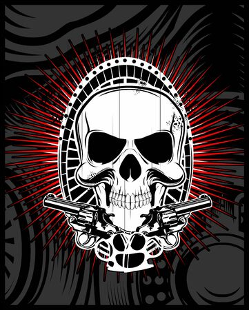 skull with gun.Vintage sketch.hand drawing,Shirt designs, biker, disk jockey, gentleman, barber and many others.isolated and easy to edit. Vector Illustration - Vector