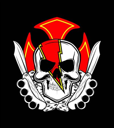 skull with knife and dice..hand drawing,Shirt designs, biker,disk jockey, gentleman, barber and many others.isolated and easy to edit. Vector Illustration - Vector