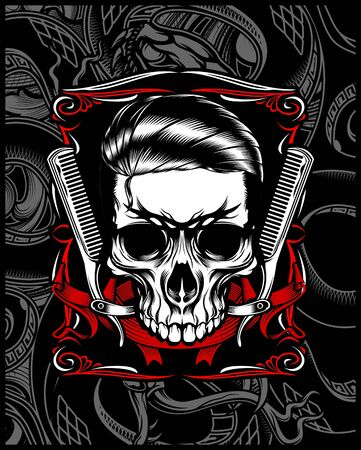 barber shop skull hand drawing,Shirt designs, biker, disk jockey, gentleman, barber and many others.isolated and easy to edit. Vector Illustration - Vector
