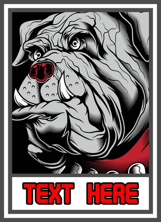 bulldog in frame hand drawing,Shirt designs, biker, disk jockey, gentleman, barber and many others.isolated and easy to edit. Vector Illustration - Vector