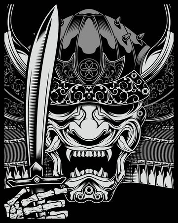 skull samurai with sword hand drawing,Shirt designs, biker, disk jockey, gentleman, barber and many others.isolated and easy to edit. Vector Illustration - Vector