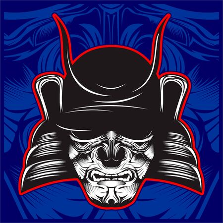 Samurai skull illustration - Vector Illustration