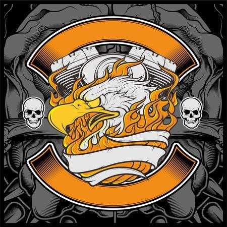 Motorcycle Eagle American Logo Emblem Graphic Design eagle illustration - Vector