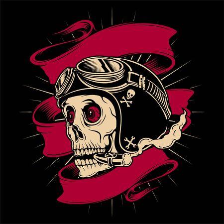 skull of motorcyclist helmet with goggles - Vector