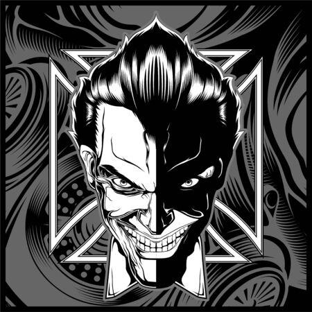 skull demon head black white hand drawing vector Illustration