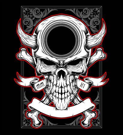 skull head with horn hand drawing vector Illustration