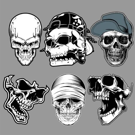 set of skull in hand drawing style - Vector