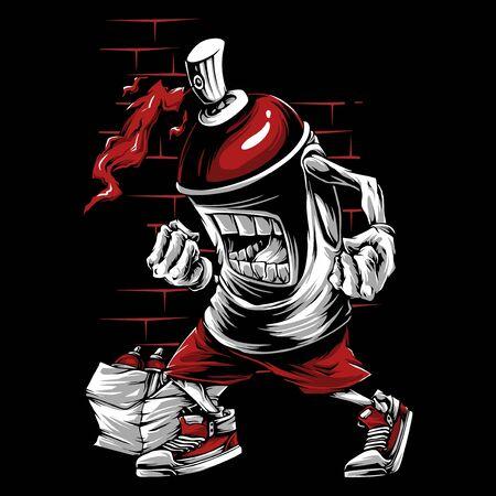 Spray paint skull face graffiti cartoon character