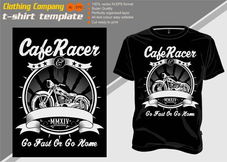 t shirt template cafe racer .Shirt designs, biker, disk jockey, gentleman, barber and many others.isolated and easy to edit. Vector Illustration - Vector