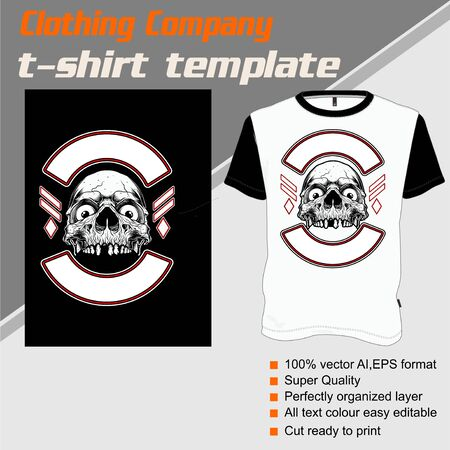 skull t shirt template ,hand drawing vector