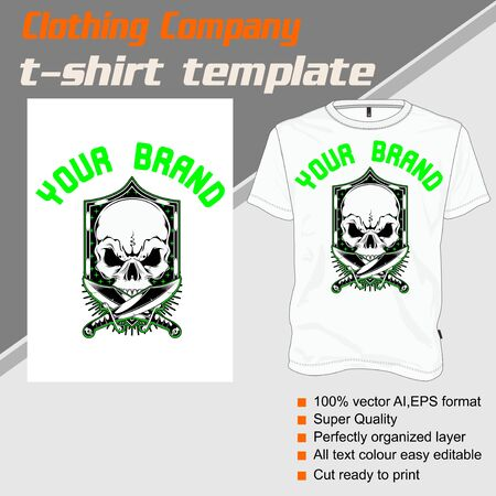 T-shirt template, fully editable with skull vector 矢量图像