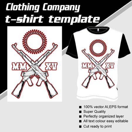 T-shirt template, fully editable with gun vector